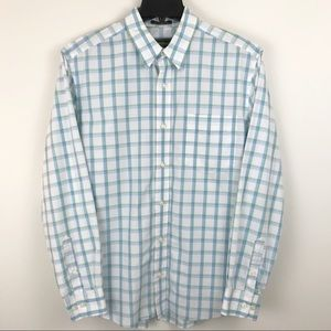 Eddie Bauer White Blue Cotton Plaid Shirt Large L